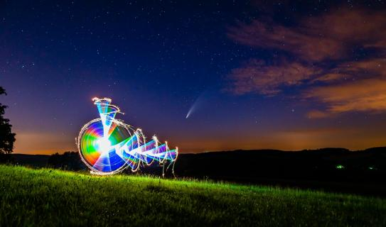 Rainbow Neowise Lightpainting