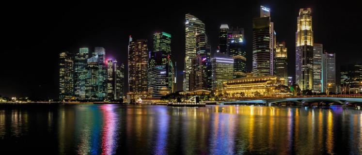 Singapur bei bei Nacht - Panorama