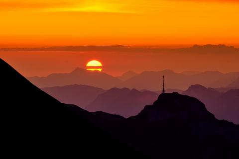 Sunrise behind the silhouette of Hoher Kasten