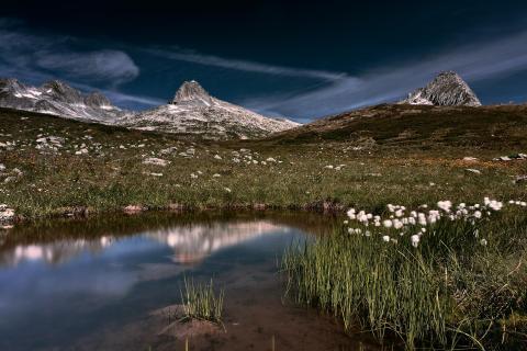 Glacier pond mirror effect at Oberalppass