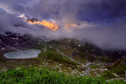 Spark of mountain light in the Alps