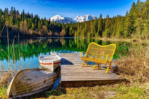 Crestasee Graubünden während Lockdown