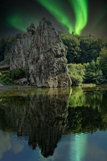 Northern lights and Rocks