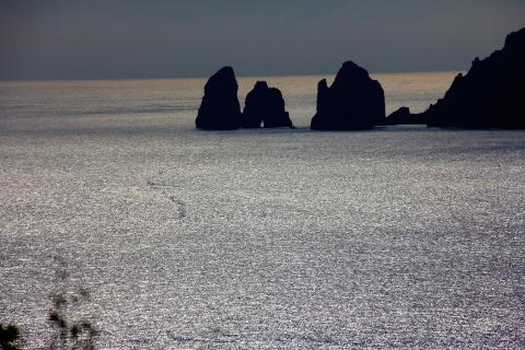 view to capri from amalfi coast italy