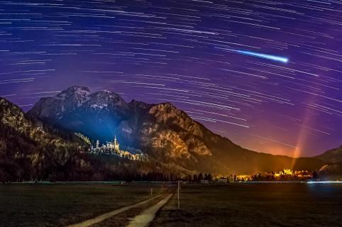 Die Nacht über dem Schloss Neuschwanstein