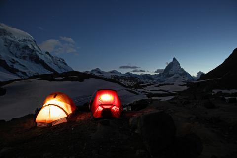 Biwak mit Blick auf das Matterhorn
