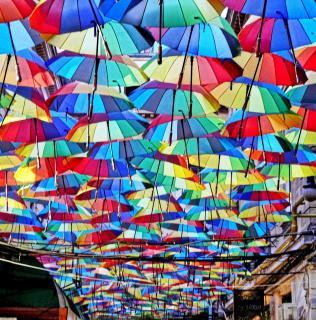 Schirme bis zum Horizont