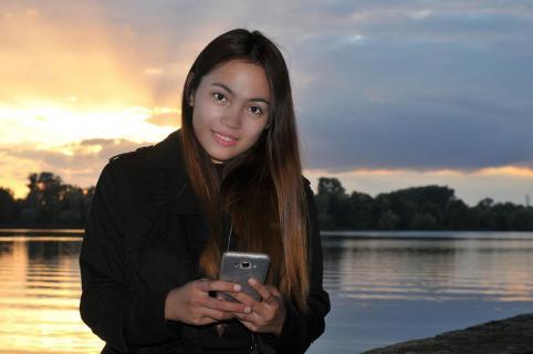 Porträt beim Sonnenuntergang