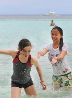 Wasserspritzer am Strand