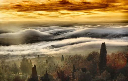 Bodennebel im Val d'Orcia