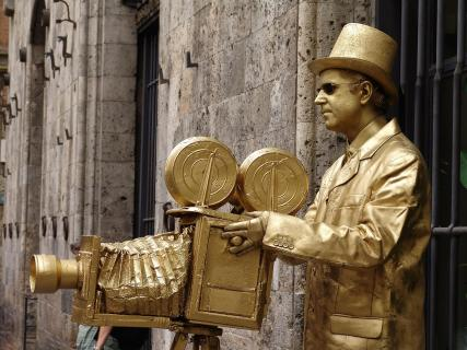 Der goldene Fotograf in Siena