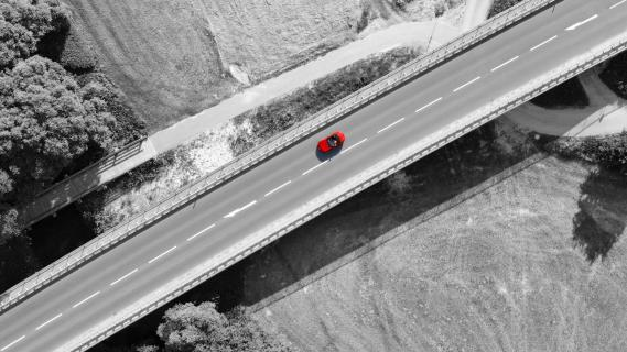Red Roadster B&W