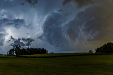 Gewitter über Rapsfeld