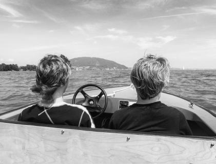 Bootsfahrts Attersee Schwarzweiss