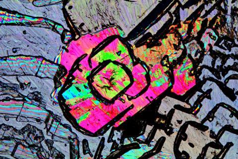 Zitronensäure-Kristall in polarisiertem Durchlicht