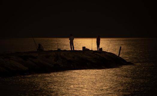 Nachtangeln im Mondschein