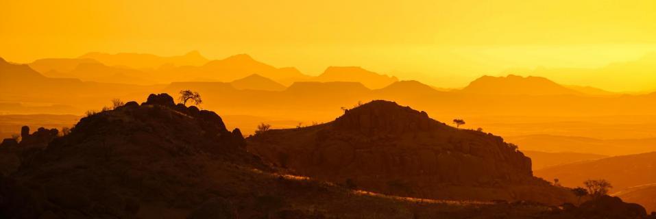 Sonnenuntergang in Namib Wüste