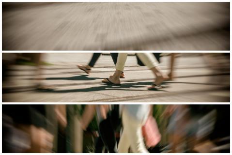 Die Menschen in Bewegung