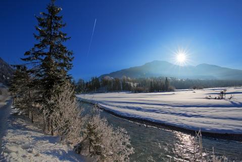 Sonnenaufgang im Winter bei -19 Grad