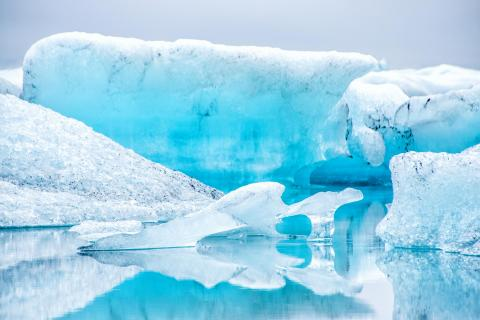 blue ice reflection