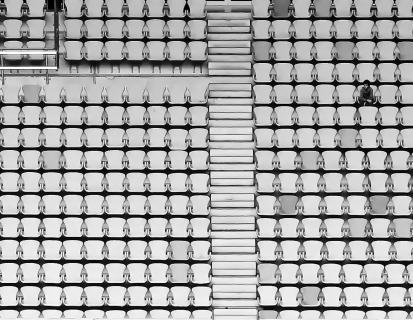The little boy in the big stadium