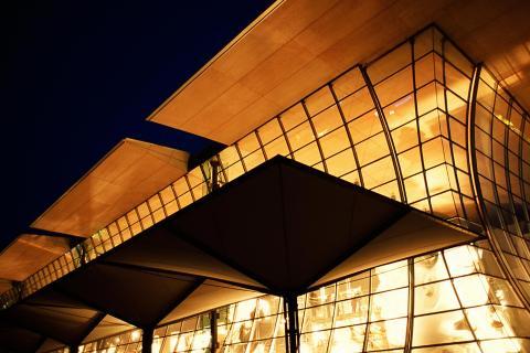 Der deutsche Pavillon bei Nacht