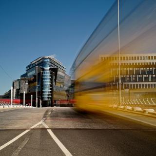 Bus in Motion in Berlin