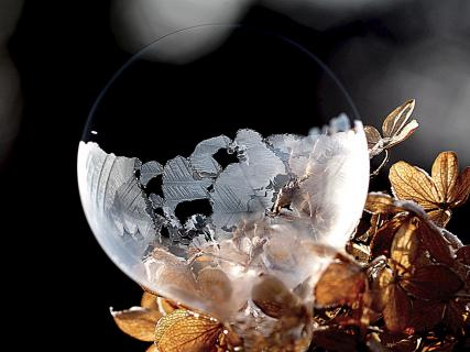 Seifenblase gefroren