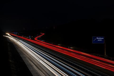 Autobahn A63 Langzeitbelichtung
