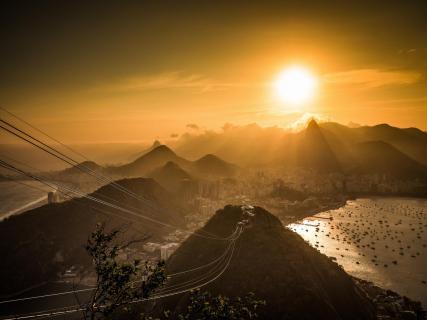 Blick vom Zuckerhut zum Christo in Rio de Janeiro