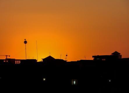 Häuser im Sonnenuntergang