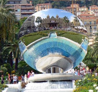 Mirror shpere reflecting Monte Carlo casino, Monaco