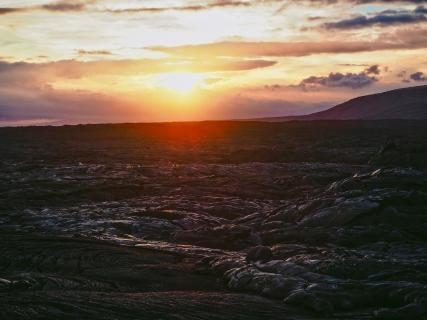 Vulkanlandschaft im Abendlicht
