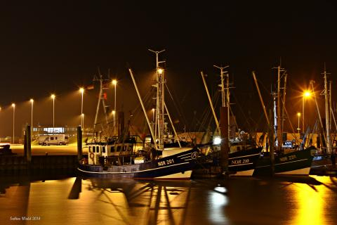 Norddeich Hafen bei Nacht