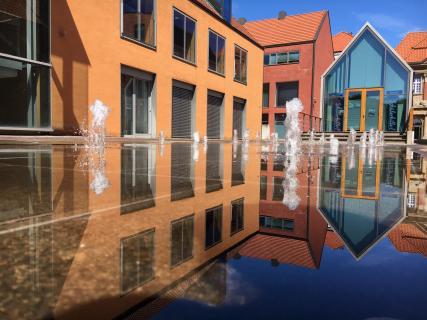 Spiegelung im Wasserspiel