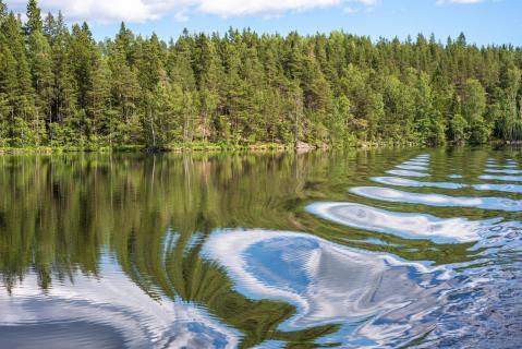 Seenlandschaft in Südschweden mit abstrakten Spiegelungen