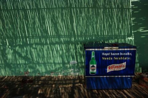 Blaue Box vor grüner Wand