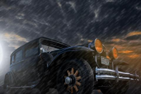 buick in the rain