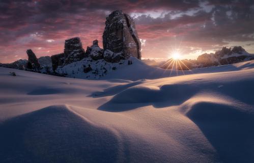 Sonnenaufgang Cinque Torri Dolomiten Italien