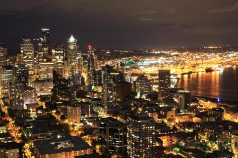 Downtown Seattle bei Nacht