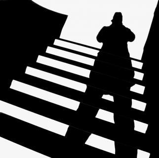 Schatten auf der Treppe
