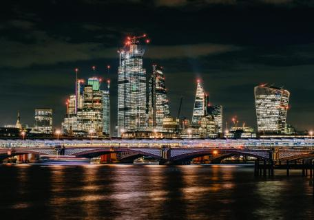 London by night Blackfriars bridge