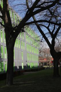 Haus mit grüne Fenster