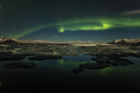 Nordlicht über dem Jökulsarlon
