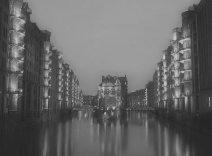 Das Wasserschloss in der Speicherstadt von Hamburg.