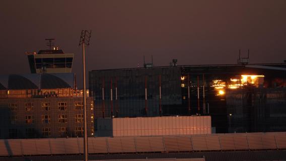 Flughafen München Sonnenuntergang