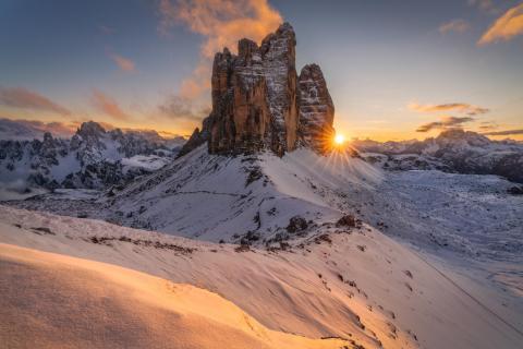 Winterlicher Sonnenuntergang bei den