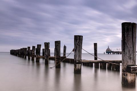 Holzbuhnen an der Seebrücke in Zingst