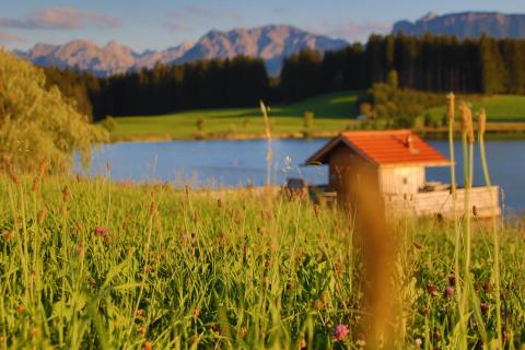 Hütte am Bergsee