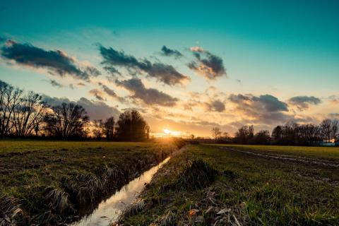 Bachlauf im Sonnenuntergang